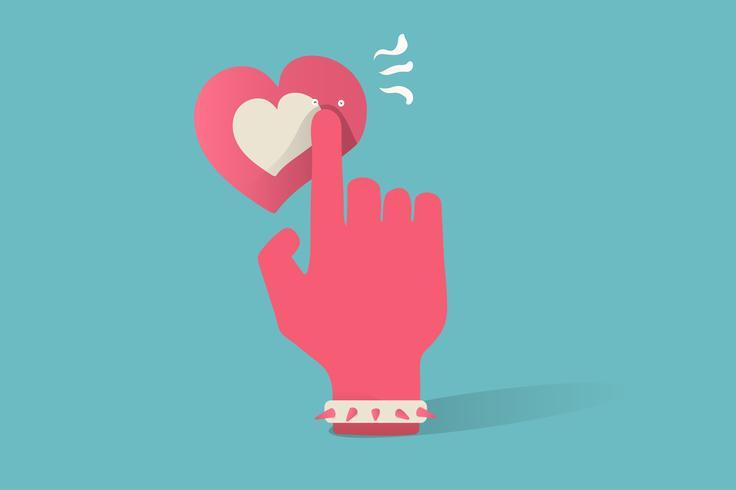 Ilustração, de, amor, ícone, ligado, experiência azul