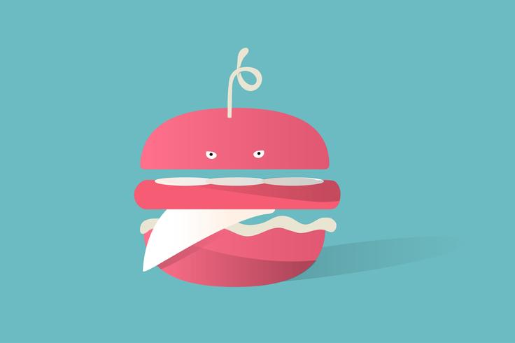 Illustratie van voedselpictogram op blauwe achtergrond