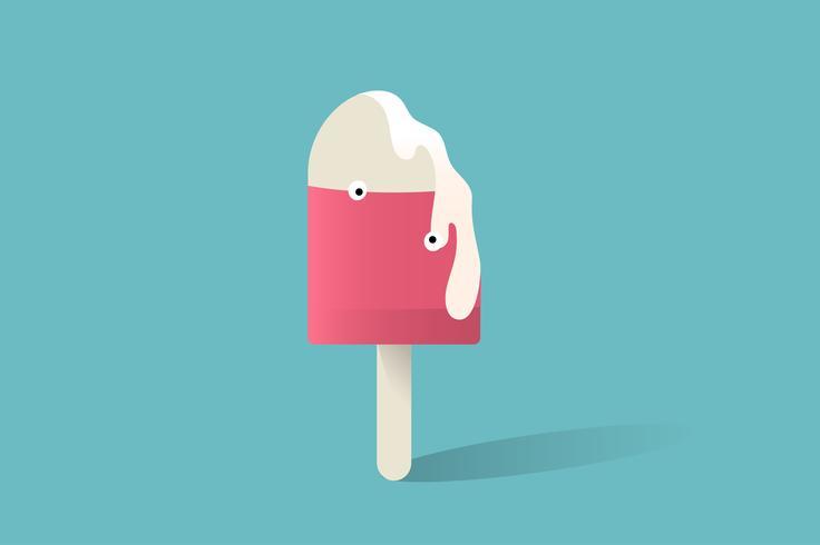 Illustration de l'icône du bâton de crème glacée sur fond bleu