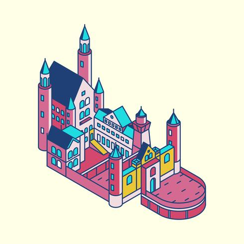 Illustration av Neuschwanstein slott i Tyskland