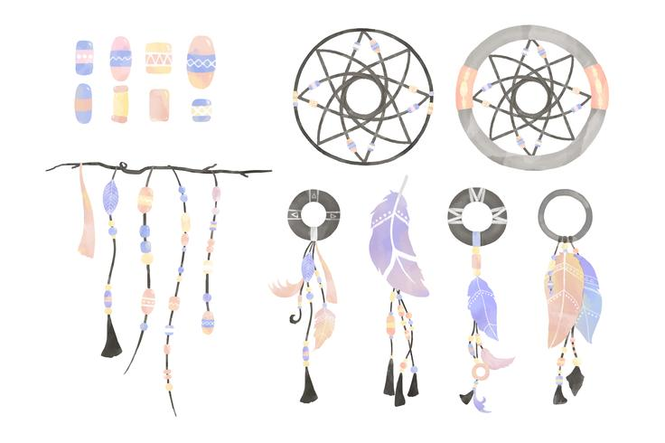 Illustrazione di dreamcatcher decorato con piume