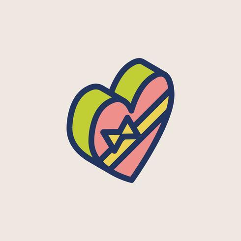 Illustratie van de pictogrammen van de valentijnskaart