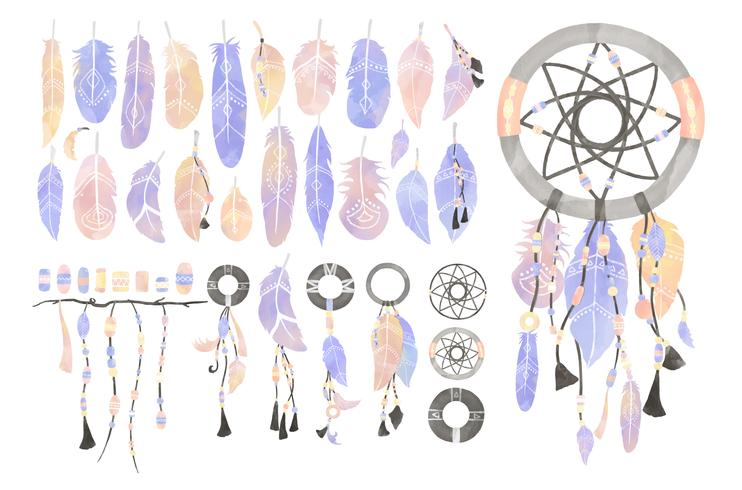 Illustration of dreamcatcher decorated with feathers