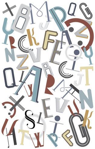 Het Engelse alfabet krabbelde omhoog illustratie