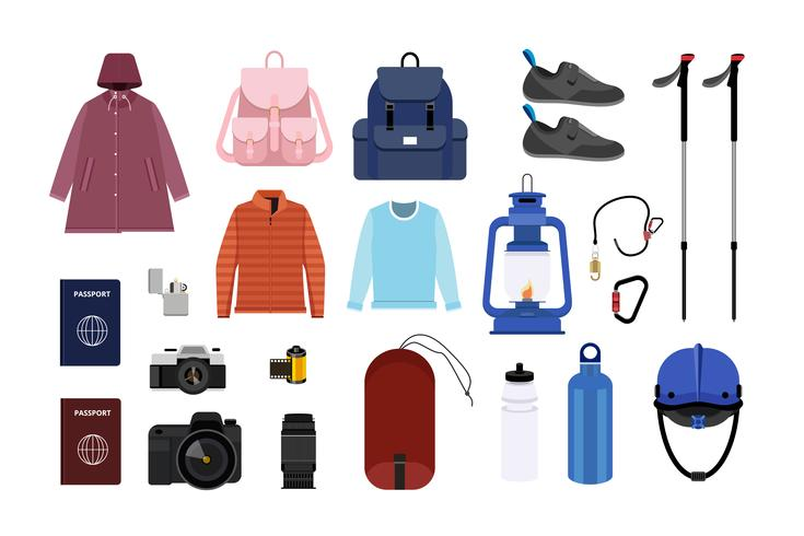 Collection of camping icon illustration