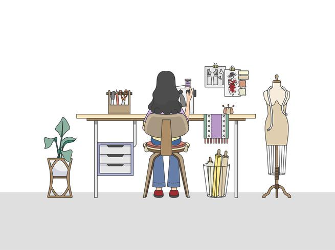 Espacio de trabajo de un diseñador de moda, o un sastre