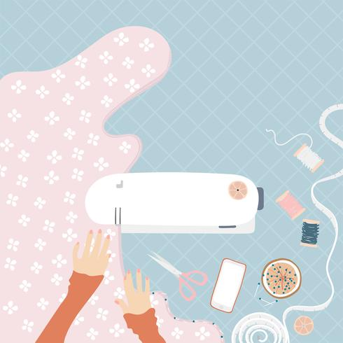 Kvinna sy på en symaskin