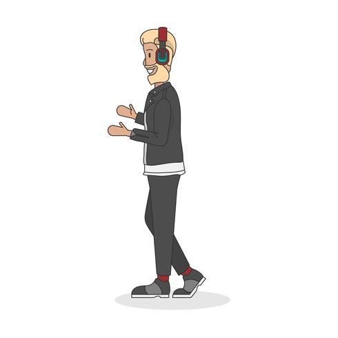 Illustration av en ljudingenjör eller en musikproducent
