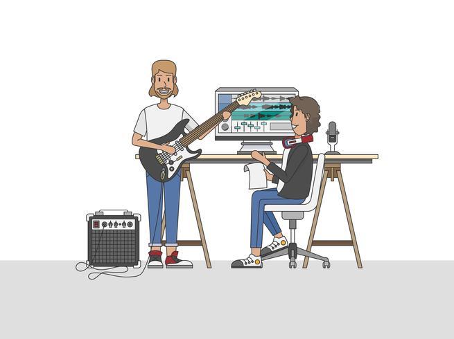 En ljudingenjör eller en musikproducent samarbetar med en musiker i sin studio-arbetsyta