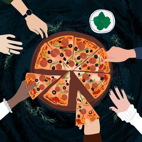 Amici che condividono una pizza italiana
