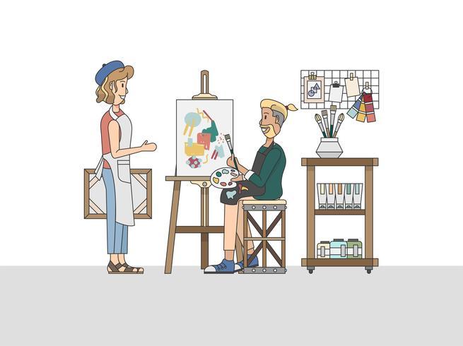 Ein künstlerischer Maler und Student in einem Atelier