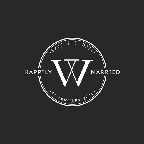 Ilustración de banner de sello de invitación de boda