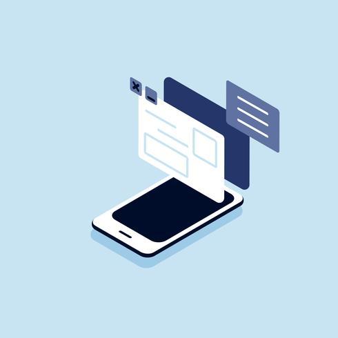 Illustration d'un téléphone intelligent avec le concept de connexion internet et de médias sociaux