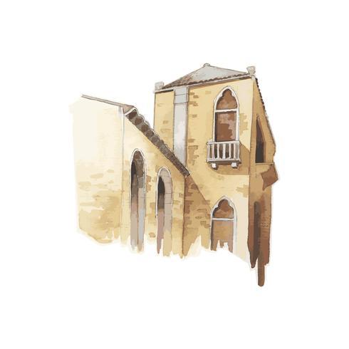 Ilustración de la ciudad mediterránea edificio exterior color agua estilo