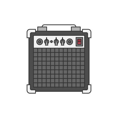 Illustration d'amplificateur basse ou guitare isolée on white