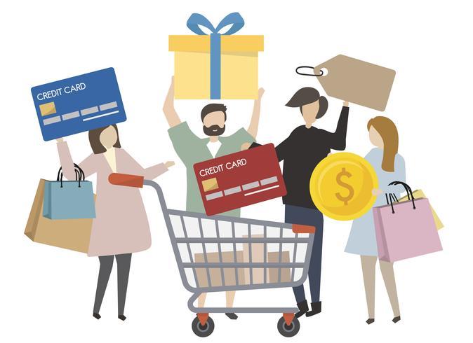 Gente que tiene el ejemplo de los iconos del concepto de las compras