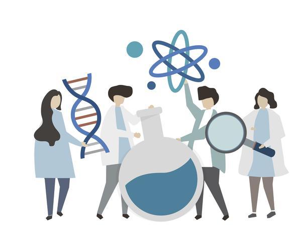 Personnes atteintes de chimie et illustration de concept génétique