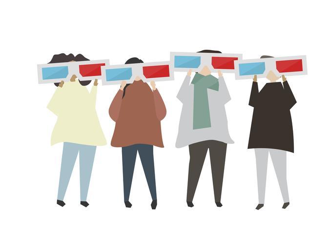 Pessoas, desgastar, 3d, óculos, ilustração