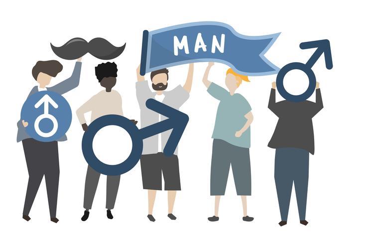 Homens, segurando, masculino, e, cavalheiro, conceito, ícones, ilustração