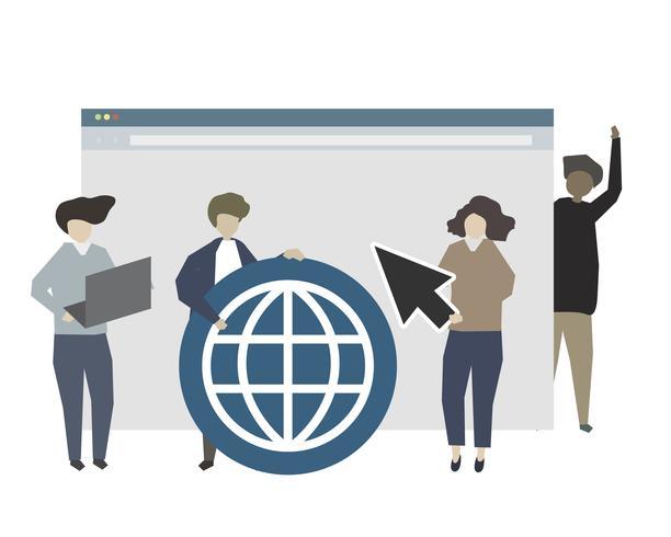 Pessoas, usando, mundialmente, conceito, teia, ilustração