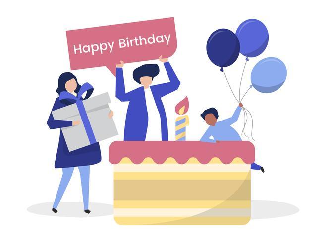 Charakter der Leute und einer themenorientierten Illustration der Geburtstagsfeier