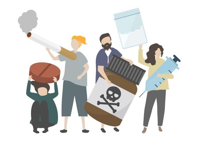 Groep van substantie verslaafden illustratie