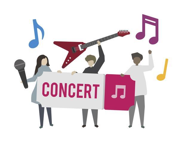 Músicos tocando na ilustração do concerto