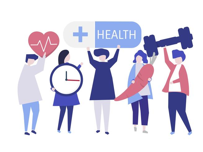 Charactes of people holding health icons illustration