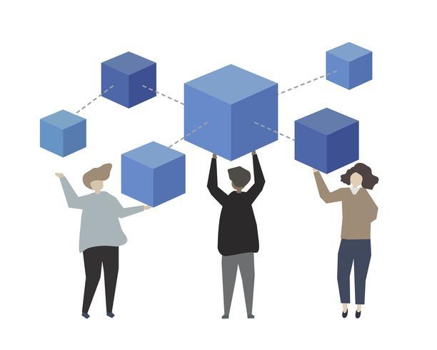 Illustration de concept de réseau de données d'entreprise