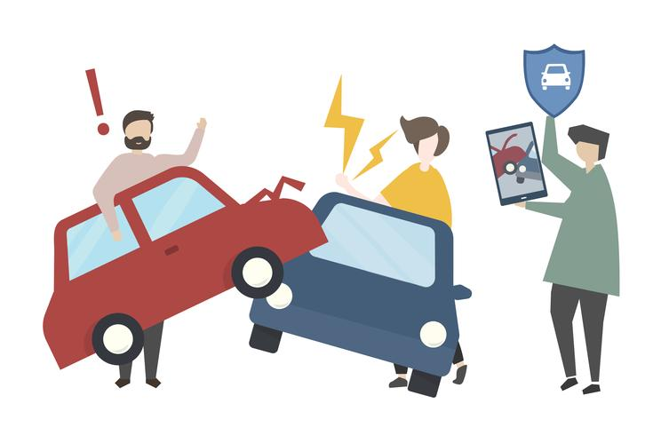 Car accident and insurance concept illustration