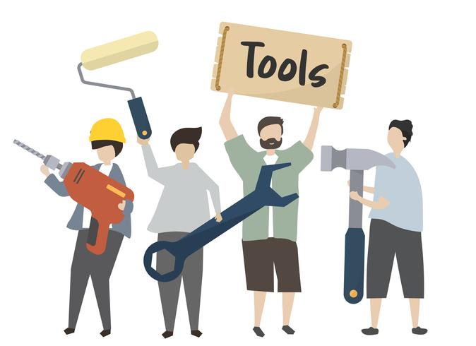 People holding construction tools illustration