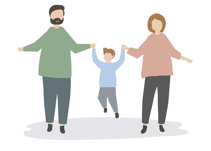Familia feliz, tenencia, manos, ilustración