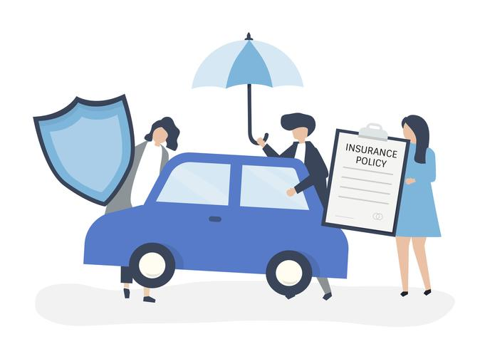 People with icons related to car insurance