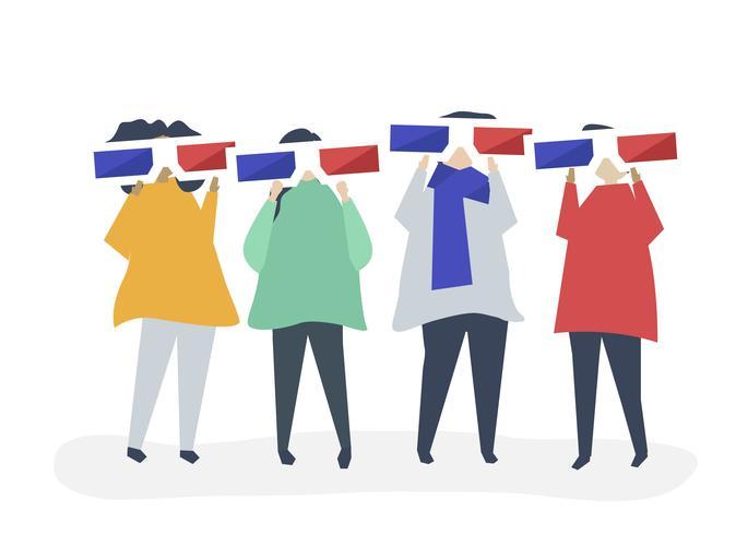 Tecken på personer som håller 3d glasögon illustration