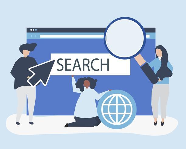 Caractères des personnes détenant des icônes de recherche internet illustration