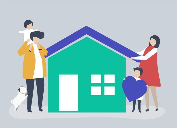 Tekens van een liefhebbende familie en hun huisillustratie