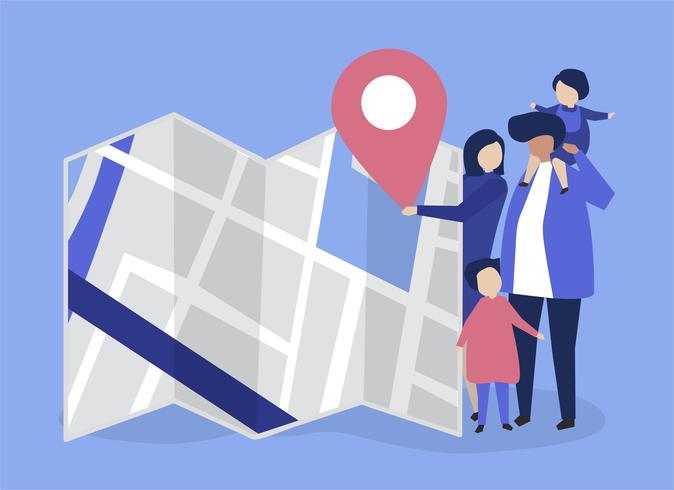 Caractères de la famille avec une carte et une illustration de marqueur GPS