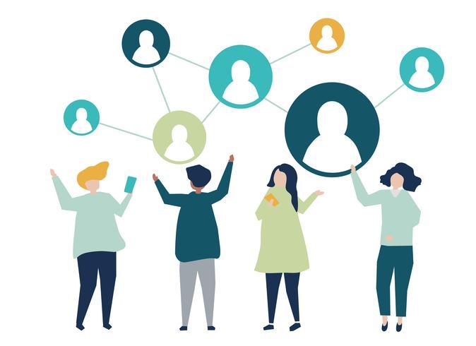 Personagens de pessoas e sua ilustração de rede social