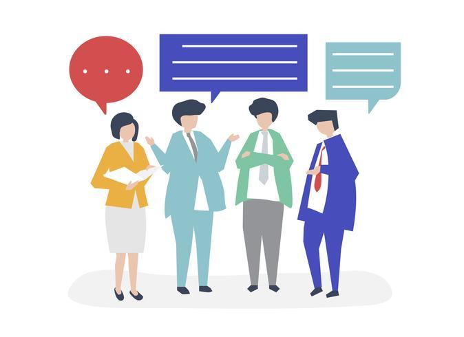 Caractère de gens d'affaires ayant une illustration de discussion