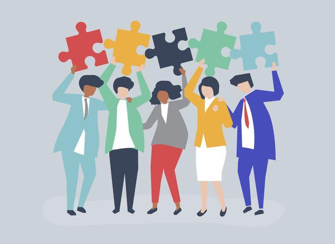 Charakter von den Geschäftsleuten, die Puzzlespiel halten, bessert Illustration aus