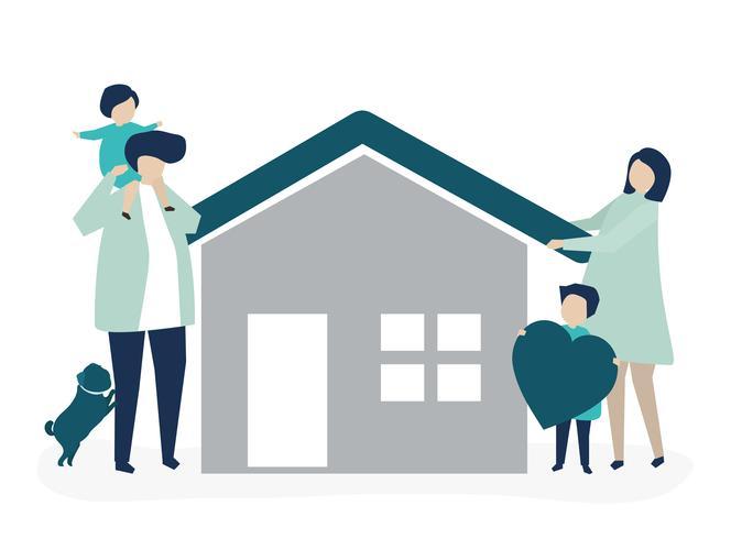 Tecken på en kärleksfull familj och deras husillustration