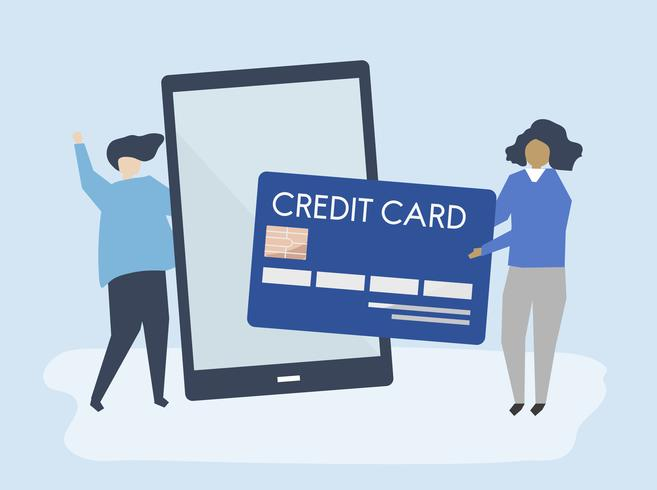 Mensen die een online illustratie van de creditcardtransactie maken