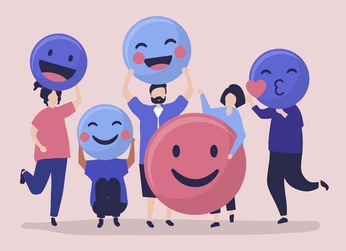 Charaktere von den Leuten, die positive Emoticonsillustration halten