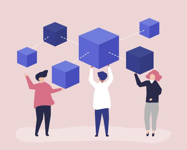 Caractères des personnes détenant une illustration du réseau blockchain
