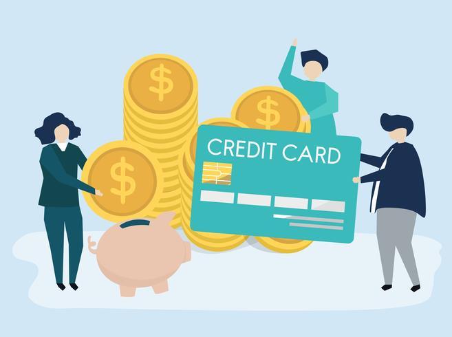 Tecken på människor och pengar sparande koncept illustration