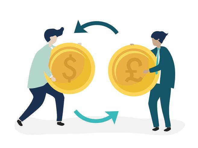 Karakters van twee zakenlieden die muntillustratie uitwisselen