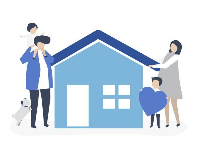 Personajes de una familia cariñosa y su ilustración de casa.