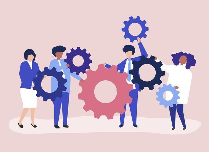 Tecken på affärsmän som håller kugghjul illustration
