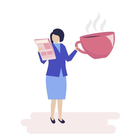 Onderneemster die koffie drinkt en een krantenillustratie leest
