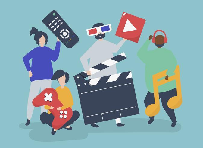 Caractères des personnes détenant une illustration d'icônes multimédia